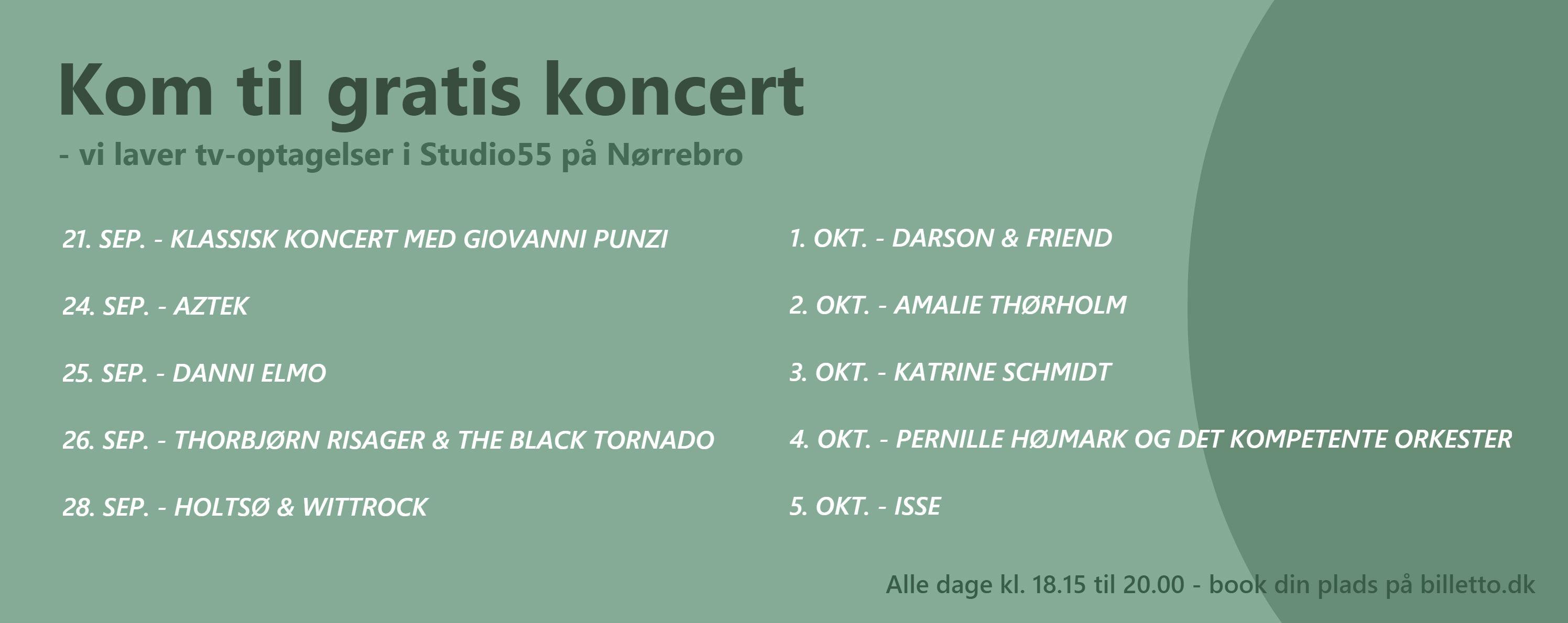 Studio55-koncerter efteraar 2018